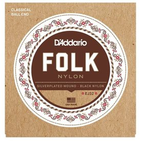 D'Addario D'Addario EJ32 Folk Nylon Guitar Strings, Ball End, Silver Wound/Black Nylon Trebles