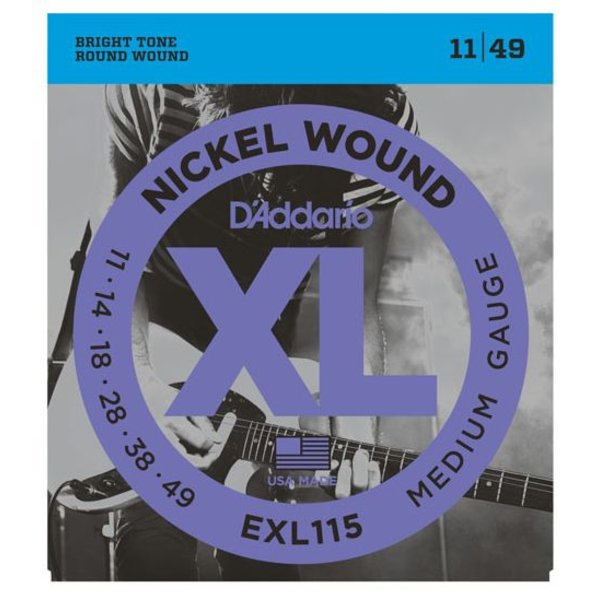 D'Addario D'Addario EXL115 Nickel Wound Electric Guitar Strings, Medium/Blues-Jazz Rock, 11-49