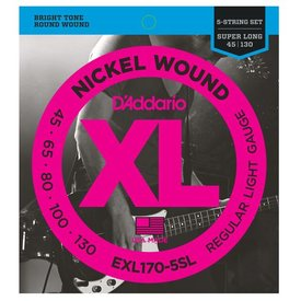 D'Addario D'Addario EXL170-5SL 5-String Nickel Wound Bass Strings, Light, Super Long Scale