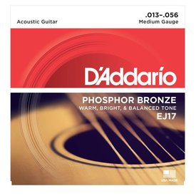 D'Addario D'Addario EJ17 Phosphor Bronze Acoustic Guitar Strings, Medium, 13-56