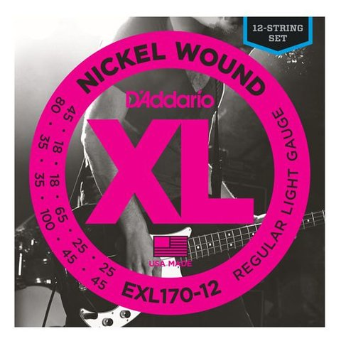 D'Addario EXL170-12 Nickel Wound Bass Guitar Strings, Light, 18-45
