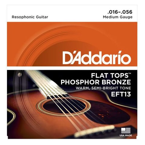 D'Addario EFT13 Flat Tops Phosphor Bronze Acoustic, Resophonic Guitar, 16-56