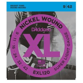 D'Addario D'Addario EXL120 Nickel Wound Electric Guitar Strings, Super Light, 9-42