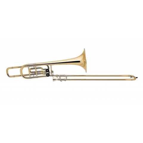 "Bach 50B2LOG Strad Pro Bb/F/Eb Bass Trombone Opn Wrap 10.5"" Gold Brass Bell"
