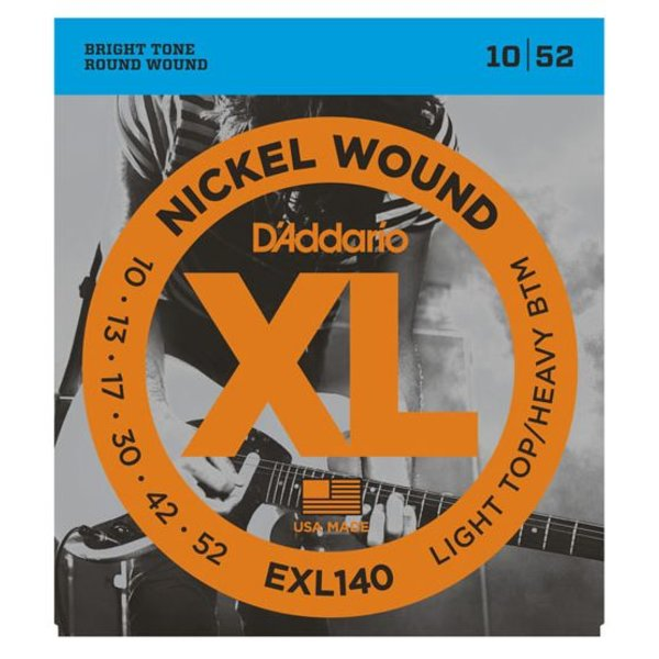 D'Addario D'Addario EXL140 Nickel Wound Electric Guitar Strings, Light Top/Heavy Bottom, 10-52