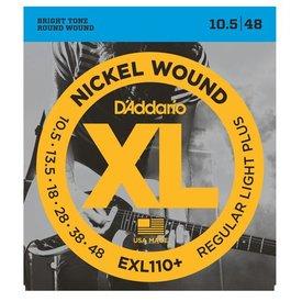 D'Addario D'Addario EXL110+ Nickel Wound Electric Guitar Strings, Regular Light Plus, 10.5-48