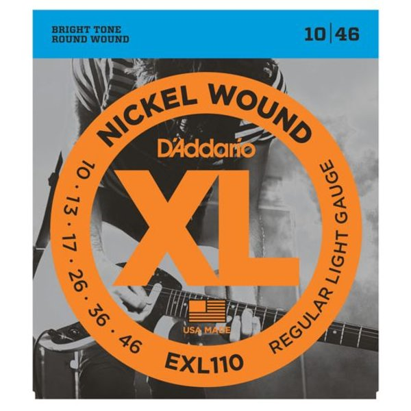 D'Addario D'Addario EXL110 Nickel Wound Electric Guitar Strings, Regular Light, 10-46