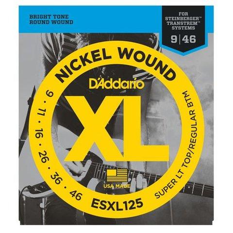 D'Addario ESXL125 Nickel Wound Elec Guitar Strings, Super Light Top/ Reg Bottom, Dbl Ball End, 9-46