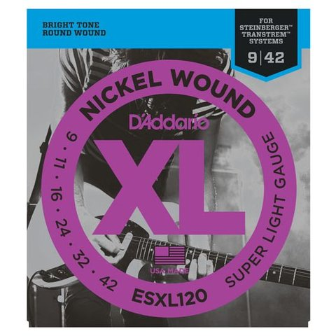 D'Addario ESXL120 Nickel Wound Elec Strings, Super Light, Double Ball End, 9-42