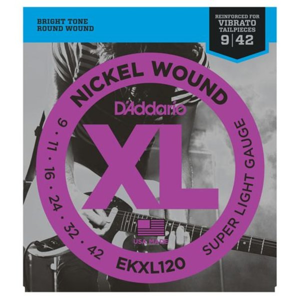 D'Addario D'Addario EKXL120 Nickel Wound Electric Strings, Super Light, Reinforced, 9-42