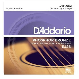 D'Addario D'Addario EJ26 Phosphor Bronze Acoustic Guitar Strings, Custom Light, 11-52