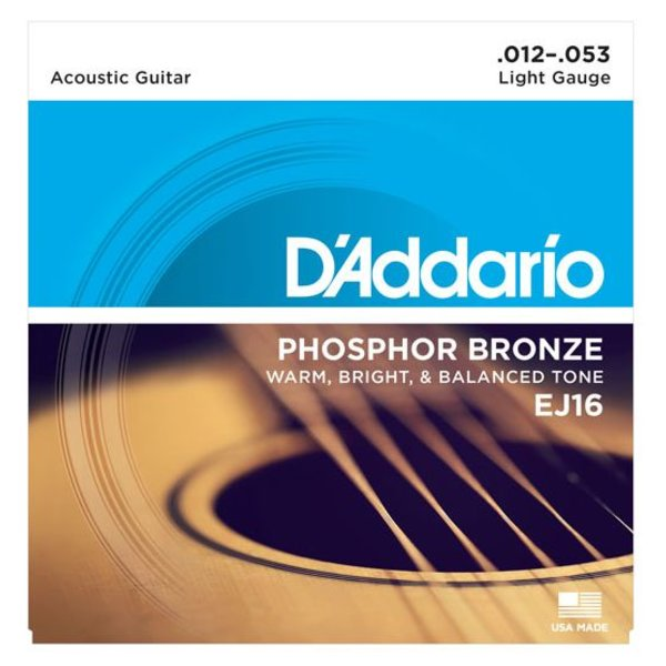 D'Addario D'Addario EJ16 Phosphor Bronze Acoustic Guitar Strings, Light, 12-53
