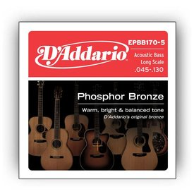 D'Addario D'Addario EPBB170-5 Phosphor Bronze 5-String Acoustic Bass, Long Scale, 45-130