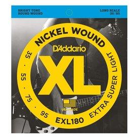D'Addario D'Addario EXL180 Nickel Wound Bass Guitar Strings, Extra Super Light, 35-95, Long Scale