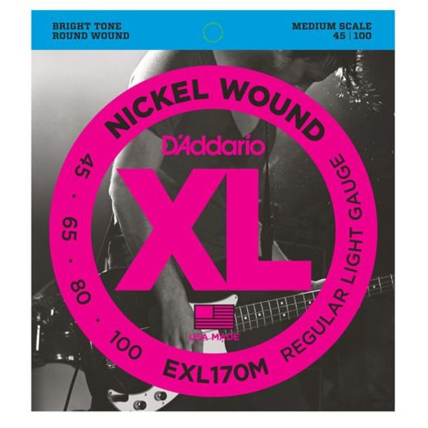 D'Addario D'Addario EXL170M Nickel Wound Bass Guitar Strings, Light, 45-100, Medium Scale