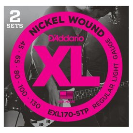 D'Addario D'Addario EXL170-5TP Nickel Wound Bass Strings, Light 45-130, 2 Sets, Long Scale