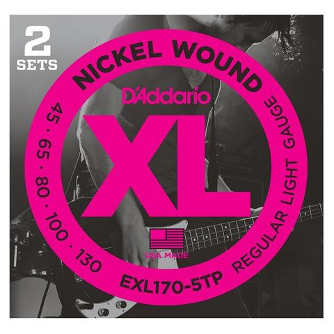 D'Addario EXL170-5TP Nickel Wound Bass Strings, Light 45-130, 2 Sets, Long Scale