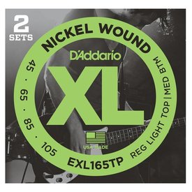 D'Addario D'Addario EXL165TP Nickel Wound Bass Guitar Strings, Custom Light, 45-105, 2 Sets, Long Scale