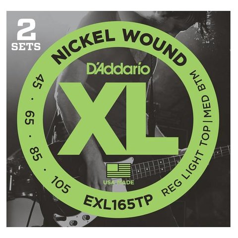D'Addario EXL165TP Nickel Wound Bass, Custom Light, 45-105, 2 Sets, Long Scale