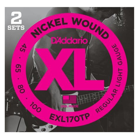 D'Addario EXL170TP Nickel Wound Bass Strings, Light, 45-100, 2 Sets, Long Scale