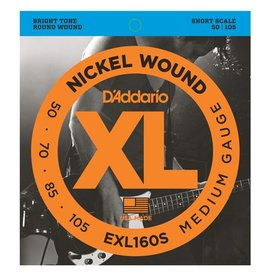 D'Addario D'Addario EXL160S Nickel Wound Bass Guitar Strings, Medium, 50-105, Short Scale