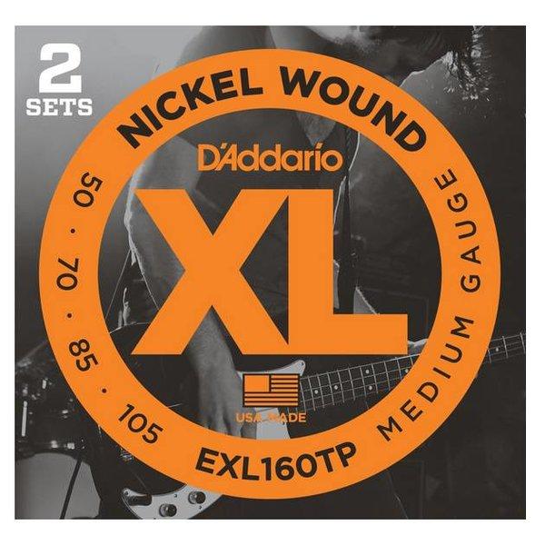 D'Addario D'Addario EXL160TP Nickel Wound Bass Strings, Medium, 50-105, 2 Sets, Long Scale