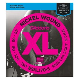 D'Addario D'Addario ESXL170-5 Nickel Wound 5-String Bass Guitar Strings, Light, 45-130, Double Ball End, Long Scale