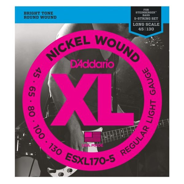 D'Addario D'Addario ESXL170-5 Nickel Wound 5-String Bass Lt 45-130 Dbl Ball End Long Scale