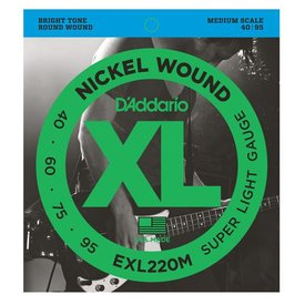 D'Addario D'Addario EXL220M Nickel Wound Bass Strings, Super Light, 40-95, Medium Scale