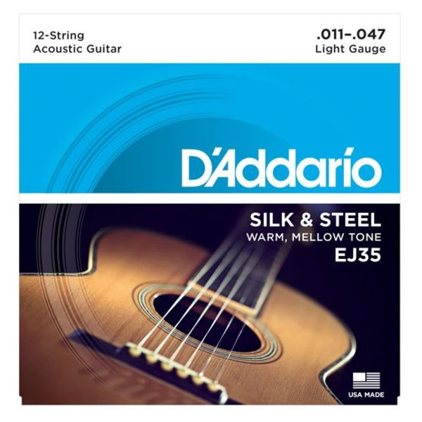 D'Addario D'Addario EJ35 Silk & Steel 12-String Folk Guitar Strings, 11-47