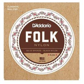 D'Addario D'Addario EJ34 Folk Nylon Guitar Strings, Ball End, 80/20 Bronze/Black Nylon Trebles
