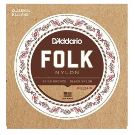 D'Addario D'Addario EJ34 Folk Nylon Strings, Ball End, 80/20 Bronze/Black Nylon Trebles