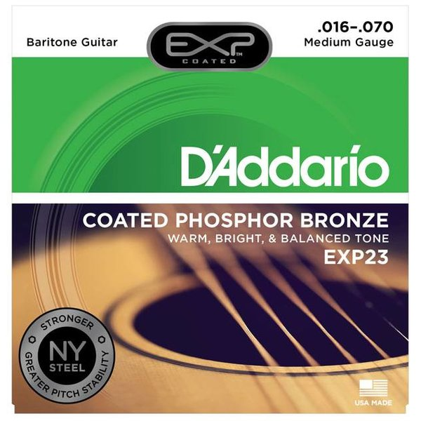 D'Addario D'Addario EXP23 EXP Coated Baritone Guitar Strings, 16-70