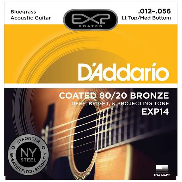 D'Addario D'Addario EXP14 Coated 80/20 Bronze Acoustic, Lt Top/Med Bottom/Bluegrass, 12-56