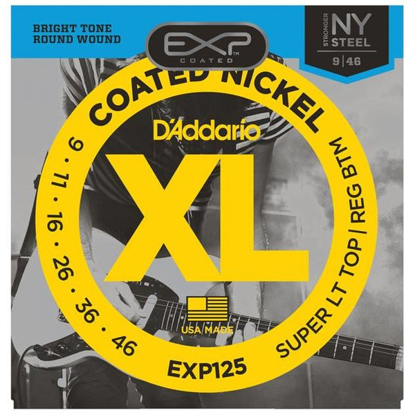 D'Addario D'Addario EXP125 Coated Electric Strings, Super Light Top/Regular Bottom, 9-46