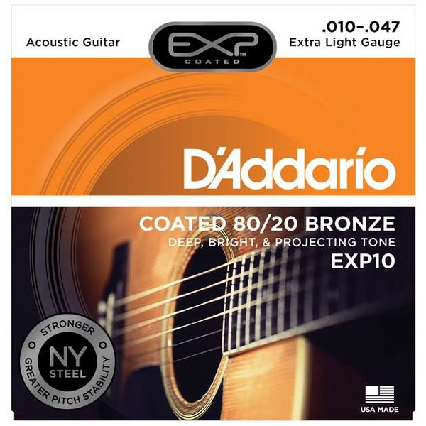 D'Addario D'Addario EXP10 Coated Acoustic Guitar Strings, 80/20, Extra Light, 10-47