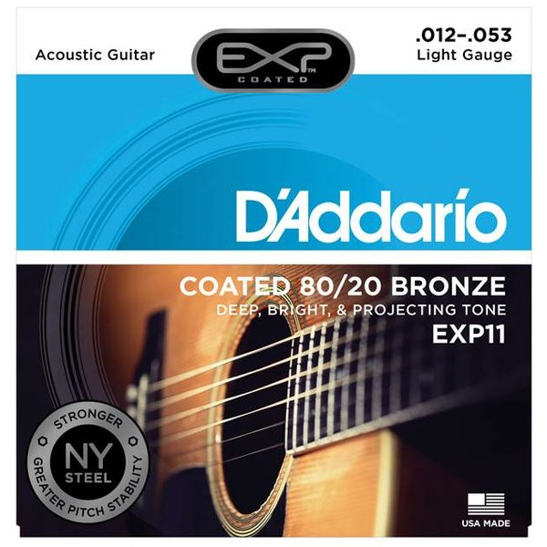 D'Addario D'Addario EXP11 Coated Acoustic Guitar Strings, 80/20, Light, 12-53