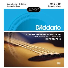 D'Addario D'Addario EXPPBB170-5 Phosphor Bronze Coated 5-String Acoustic Bass Strings, Long Scale, 45-130