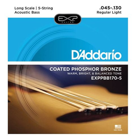 D'Addario EXPPBB170-5 Phosphor Bronze Coated 5-String Acou Bass Lng Scale 45-130