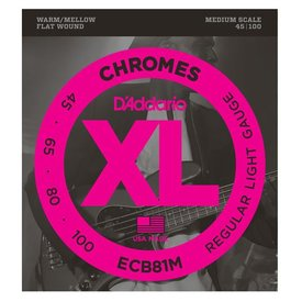 D'Addario D'Addario ECB81M Chromes Bass Guitar Strings, Light, 45-100, Medium Scale