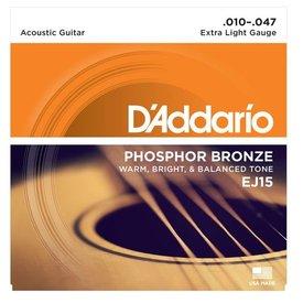 D'Addario D'Addario EJ15 Phosphor Bronze Acoustic Guitar Strings, Extra Light, 10-47
