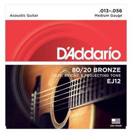 D'Addario D'Addario EJ12 80/12 Bronze Acoustic Guitar Strings, Medium, 13-56