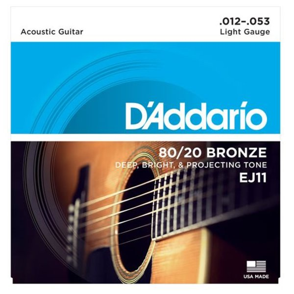 D'Addario D'Addario EJ11 80/20 Bronze Acoustic Guitar Strings, Light, 12-53