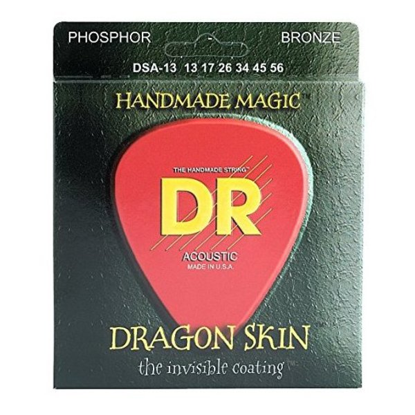 DR Handmade Strings DR DSA-13 Dragon Skin Coated Acous Strings, Phosphor Bronze, Medium/Heavy, 13-56