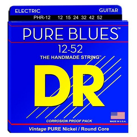 DR Strings PHR-12 Pure Blues Strings, Nickel, Extra Heavy, 12-52