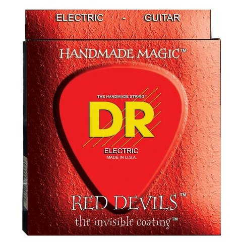 DR RDE-9 Red Devils Coated Electric Guitar Strings, Light, 9-42