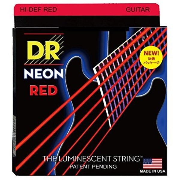 DR Handmade Strings DR Strings NRE-9 Light Hi-Def NEON RED: Coated Electric: 9, 11, 16, 24, 32, 42