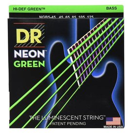 DR Strings DR Strings NGB5-45 Medium 5's Hi-Def NEON GREEN: Coated Bass Strings: 45, 65, 85, 105, 125