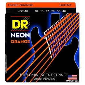 DR Strings DR Strings NOE-10 Med Hi-Def NEON ORANGE Coated Electric: 10, 13, 17, 26, 36, 46