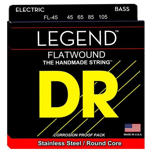 DR Strings DR Strings FL-45 Med Hi-BEAM FLATS Flatwound Stainless Steel: 45, 65, 85, 105